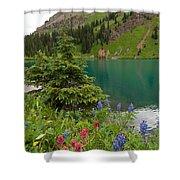Blue Lakes Summer Portrait Shower Curtain