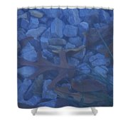 Blue Leaf Shower Curtain