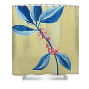 Blue Leaves And Berries Shower Curtain