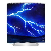 Blue Lightning Above The Ocean Shower Curtain