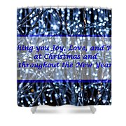 Blue Lights Abstract Christmas Shower Curtain
