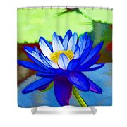 Blue Lotus Flower Shower Curtain