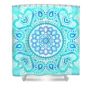 Blue Lotus Mandala Shower Curtain
