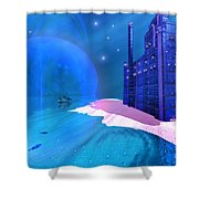 Blue Mansions Shower Curtain