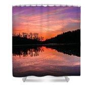 Blue Marsh Lake Sunset Shower Curtain