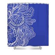 Blue Mehndi Shower Curtain