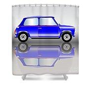 Blue Mini Car Shower Curtain