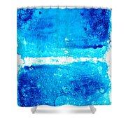 Blue Modern Art - Two Pools - Sharon Cummings Shower Curtain