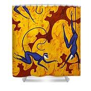 Blue Monkeys No. 45 Shower Curtain
