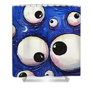 Blue Monster Eyes Shower Curtain