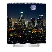 Blue Moon Over L.a. Shower Curtain