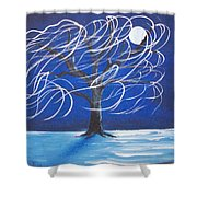 Blue Moon Willow In The Wind Shower Curtain