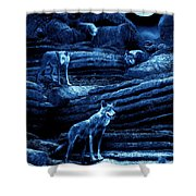 Blue Moon Wolf Pack Shower Curtain