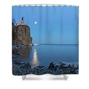 Blue Moonrise At Split Rock Lighthouse Shower Curtain
