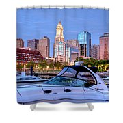Blue Morning On Boston Harbor Shower Curtain by Susan Cole Kelly