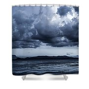 Blue Morning Taal Volcano Philippines Shower Curtain