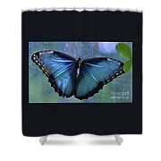 Blue Morpho Butterfly Portrait Shower Curtain