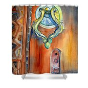 Blue Mosque Door Shower Curtain