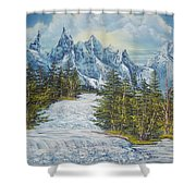 Blue Mountain Torrent Shower Curtain