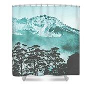 Blue Mountain Winter Landscape Shower Curtain