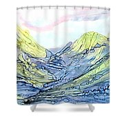 Blue Mountains Alcohol Inks  Shower Curtain