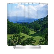 Blue Mountains Green Pastures Shower Curtain