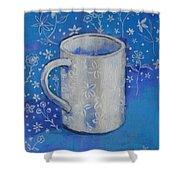 Blue Mug With Flowers Shower Curtain
