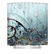 Blue Mystery Forest Of Flowers And Tendrils Shower Curtain