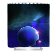 Blue Mystic Nebula Shower Curtain