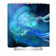 Blue Nebula Shower Curtain
