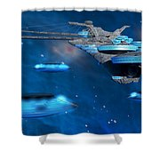Blue Nebula Expanse Shower Curtain by Corey Ford