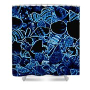 Blue Neon Shells Shower Curtain