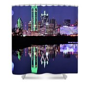 Blue Night And Reflections In Dallas Shower Curtain