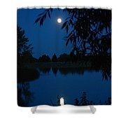 Blue Night Moon And Reflection Shower Curtain