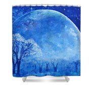 Blue Night Moon Shower Curtain by Ashleigh Dyan Bayer