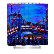 Blue Night Of St. Johns Bridge 37 Shower Curtain