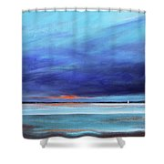 Blue Night Sail Shower Curtain by Toni Grote
