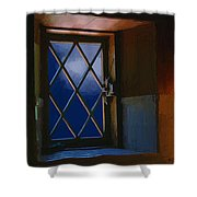 Blue Night Through Casement Shower Curtain