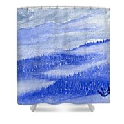 Blue Noon In Western Montana Shower Curtain