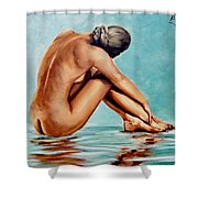 Blue Nude Shower Curtain