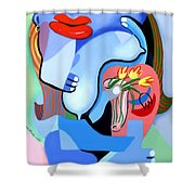 Blue Nude With Tulips Shower Curtain