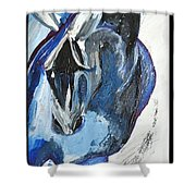 Blue Olympic Horse  Shower Curtain