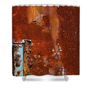 Blue On Rust Shower Curtain