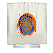Blue Orange Abstract Art Shower Curtain