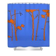 Blue Orange Tree Shower Curtain