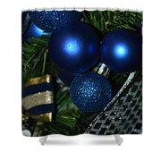 Blue Ornament Shower Curtain