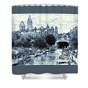 Blue Ottawa Skyline - Water Color Shower Curtain