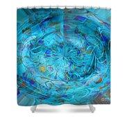 Blue Oval Shower Curtain