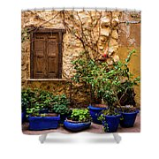 Blue-painted Plant Pots Shower Curtain