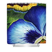 Blue Pansies  Shower Curtain